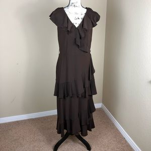 Adrianna Papell Brown Ruffled Stretch Dress 12